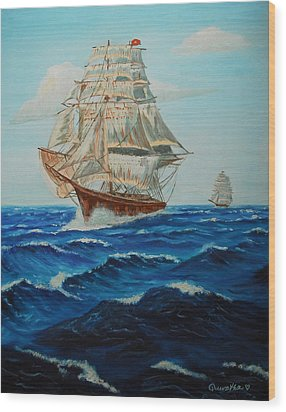 Two Ships Sailing Wood Print by Quwatha Valentine