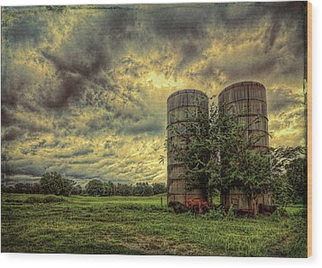 Wood Print featuring the photograph Two Silos by Lewis Mann