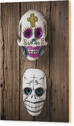 Two Skull Masks Wood Print by Garry Gay