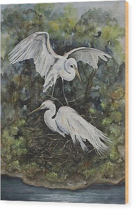 Two Snowy Egrets Wood Print by Laurie Tietjen