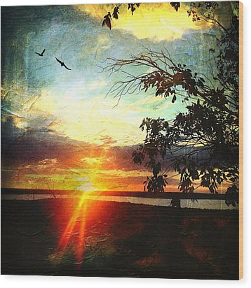 Two Souls Flying Off Into The Sunset  Wood Print