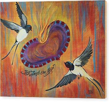 Two Souls One Heart Wood Print