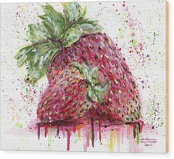Two Strawberries Wood Print by Arleana Holtzmann