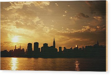 Two Suns - The New York City Skyline In Silhouette At Sunset Wood Print by Vivienne Gucwa