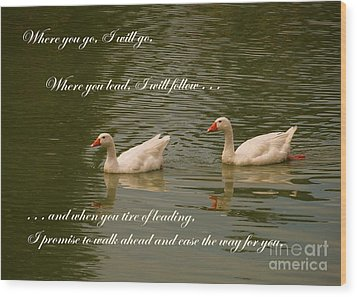 Two Swans - Marriage Vows Wood Print by Yali Shi