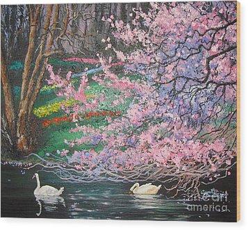 Two Swans Wood Print by Cynthia Sorensen