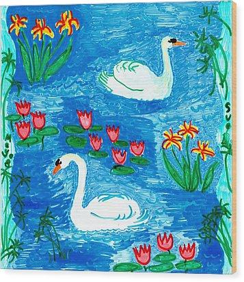 Two Swans Wood Print by Sushila Burgess
