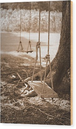 Two Swings - Sepia Wood Print by Beth Vincent