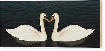 Two Symmetrical White Love Swans Wood Print