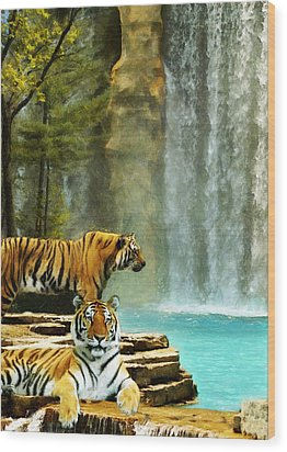 Two Tigers Wood Print
