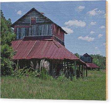 Two Tobacco Barns Wood Print by Sandra Anderson