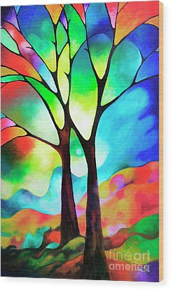 Two Trees Wood Print by Sally Trace
