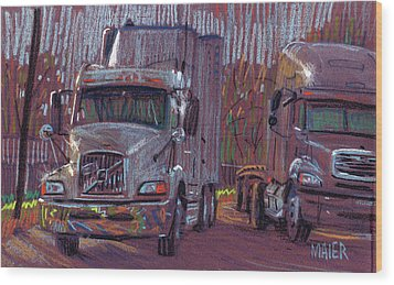 Two Trucks Wood Print by Donald Maier