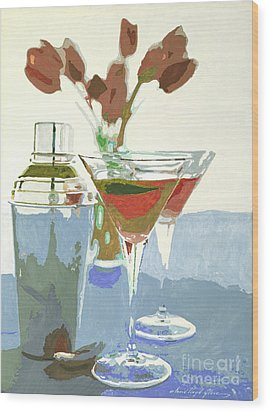 Two Tulip Martinis Wood Print by David Lloyd Glover