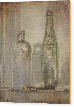 Two Vintage Bottles Wood Print