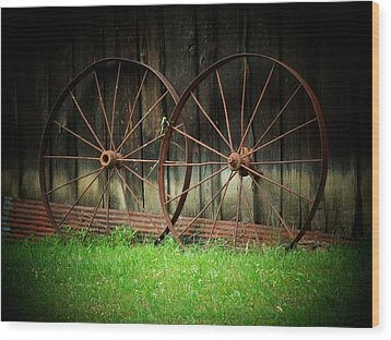 Two Wagon Wheels Wood Print by Michael L Kimble