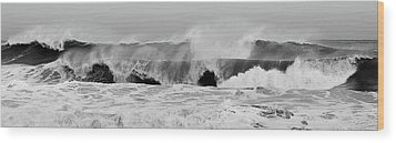Two Waves Are Better Than One - Jersey Shore Wood Print by Angie Tirado