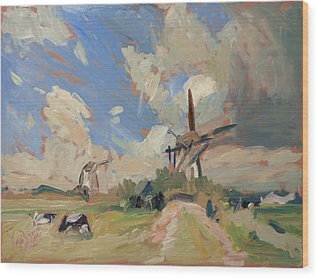 Two Windmills Wood Print by Nop Briex