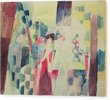 Two Women And A Man With Parrots Wood Print by August Macke