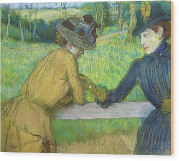 Two Women Leaning On A Gate Wood Print by Edgar Degas