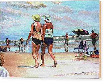 Two Women Walking On The Beach Wood Print by Stan Esson