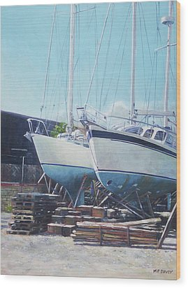 Wood Print featuring the painting Two Yachts Receiving Maintenance In A Yard by Martin Davey