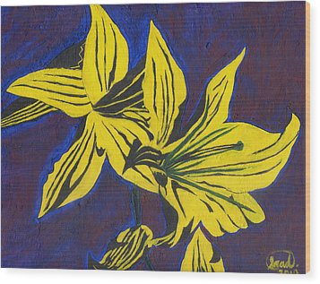 Wood Print featuring the painting Two Yellow Lilies by Saad Hasnain