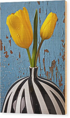 Two Yellow Tulips Wood Print by Garry Gay