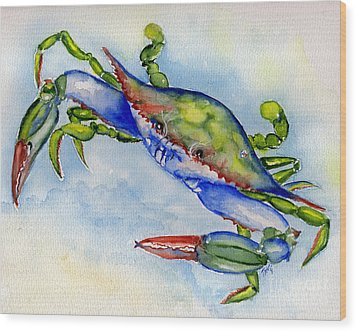 Tybee Blue Crab 2 Wood Print by Doris Blessington