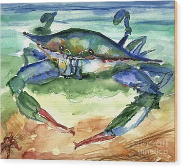 Tybee Blue Crab Wood Print by Doris Blessington