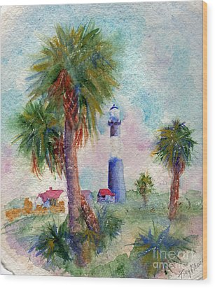Tybee Lighthouse And Palms Wood Print by Doris Blessington