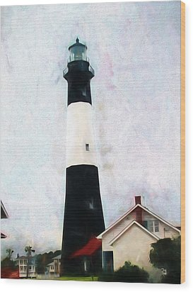 Tybee Lighthouse - Coastal Wood Print by Barry Jones