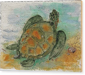 Tybee Sea Turtle Wood Print by Doris Blessington