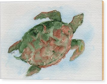 Tybee Turtle Wood Print by Doris Blessington