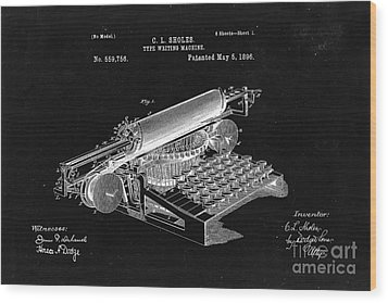 Type Writing Machine Patent From 1896  - Black Wood Print by Delphimages Photo Creations