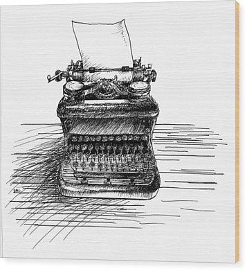 Typewriter Wood Print by Diana Ludwig