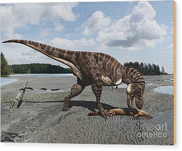 Tyrannosaurus Enjoying Seafood Wood Print
