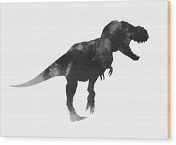 Tyrannosaurus Figurine Watercolor Painting Wood Print by Joanna Szmerdt