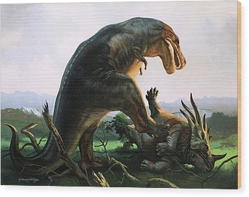 Tyrannosaurus Rex Eating A Styracosaurus Wood Print by William Francis Phillipps