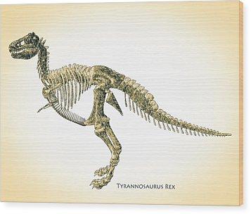 Tyrannosaurus Rex Skeleton Wood Print by Bob Orsillo