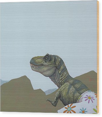 Tyranosaurus Rex Wood Print by Jasper Oostland