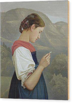 Tyrolean Girl Contemplating A Crucifix Wood Print by Rudolph Friedrich Wasmann