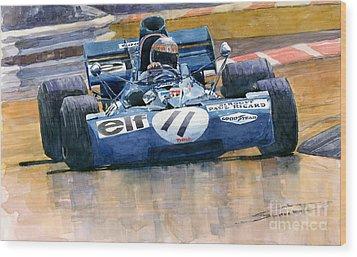 Tyrrell Ford 003 Jackie Stewart 1971 French Gp Wood Print by Yuriy  Shevchuk