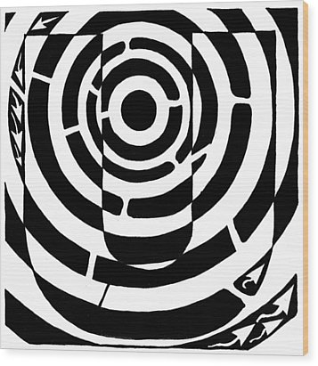 U-maze Wood Print by Yonatan Frimer Maze Artist