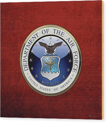 U. S.  Air Force  -  U S A F Emblem Over Red Velvet Wood Print