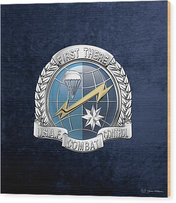 U. S.  Air Force Combat Control Teams - Combat Controller C C T Badge Over Blue Velvet Wood Print by Serge Averbukh