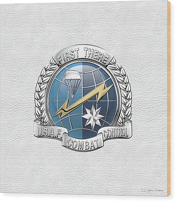 U. S.  Air Force Combat Control Teams - Combat Controller C C T Badge Over White Leather Wood Print by Serge Averbukh
