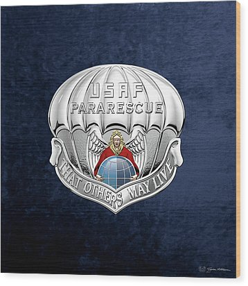 U. S.  Air Force Pararescuemen - P J Badge Over Blue Velvet Wood Print by Serge Averbukh