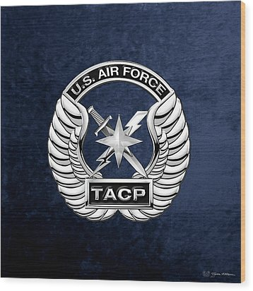 Wood Print featuring the digital art U. S.  Air Force Tactical Air Control Party -  T A C P  Badge Over Blue Velvet by Serge Averbukh