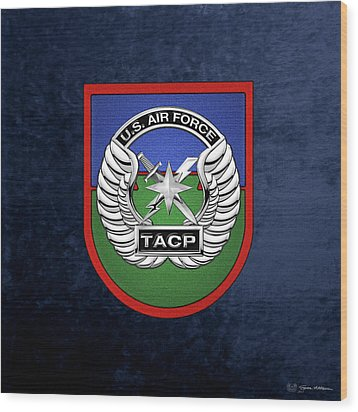 Wood Print featuring the digital art U. S.  Air Force Tactical Air Control Party -  T A C P  Beret Flash With Crest Over Blue Velvet by Serge Averbukh